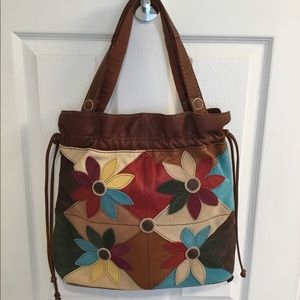 Lucky Brand Leather/Suede Patchwork Bag